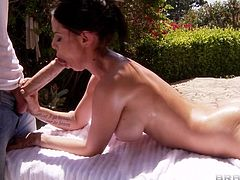 Brandy was sunning herself outside naked. She asked Danny the gardener to give her a massage. So she lied down, hot and naked and Danny got to work. But how can you not get hard when touching such a body?! And she wasn't going to let him suffer long. She got a hold of that cock and started sucking!