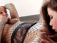 Clad in fishnet attires, the amazing Sandy and the voluptuous Alexa are ready to mesmerize us with some hot, passionate lesbian game. Their tongues will explore every holes and curves, and we can promise that no pussy will remain dry in the end. Join the beautiful sex divas for this lesbian get-together.