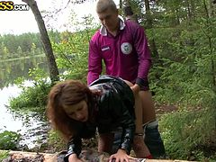 Getting rid of jeans skirt and jacket girlie with uncombed black hair kneels down. This chick is hungry and wanna be fed with tasty cum after sucking a tasty lollicock in the woods. Dude, don't skip this impressive Her Sex Debut clip.
