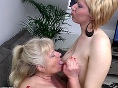 This old blonde lesbian had a few horny cunt at her life but now that she's old and chubby Leona gets even more pussy! Two horny chicks are making her happy, one of them, Goldy, a blonde luscious cutie with firm tits gives her all her love and a pussy lick while that brunette one waits her turn and masturbates