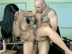 Busty brunette gets pounded by her teacher and made to swallow massive load