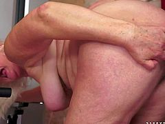 Fat horny grandma Judi gets hardcored