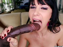 Busty milf Eva has a lust for big black cocks. She likes having a monster cock in her mouth but mostly she enjoys to fill her womb with one. After sucking that dick she takes a sit on the couch, raises those sexy legs and receives a deep hard fuck in her pussy. Fucking whore deserves it in the ass too!