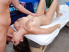 Hot 18 brunette Abby Lane has fucked hard by her massage therapist