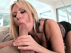 Appetizing blonde milf Carolyn Reese with large natural boobs and super hot big ass meets a handsome boyfriend with big dick. Carolyn is super hot temptress and seduces him without any problem.