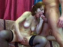 Granny Ivet knows the importance of veggies. She takes her daily dose right now by rubbing that cucumber dildo on her shaved pussy while sucking this guy's hard cock. She knows how to suck cock and now that she's laid on her back granny will show what she knows to do best! Stick around and find out what!
