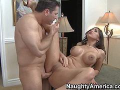 Unfaithful busty sexy wife Alexis Breeze shows up topless. Thats enough to turn guy on to the point of no return. Big racked brunette gets her hot sexy pussy licked and fucked by horny John Strong.