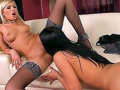Marvelous lesbian couple of Donna Bell and gorgeous skinny girl with a dark hair Honey Demon are having a nice fuck. Enjoy this blondie pleasing her girlfriend.