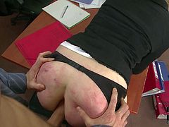 Four-eyed elegant secretary bends over for her boss. She gets her asshole stretches with fingers before he sticks his boner in her anal tunnel from behind. He bangs her mouth and pussy after ass.