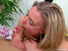 Blonde beauty Chloe lays on the bed and the guy offers her his big hard cock. The blonde puts his dick between those pink sexy lips and gives it a short suck. She then puts some more love into it and sucks the penis and the balls like a naughty girl. Should she get fucked for what she did? We thinks yes!