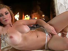 Nice Heather Vandeven sets her pussy on fire