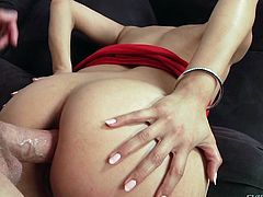 Brunette with smooth ass is a futuristic lover. This bitchie nympho can think only about pleasing a tool. Bending over the table girlie stretches legs and jams tits. She wanna doggy fuck but gets her anus poked.