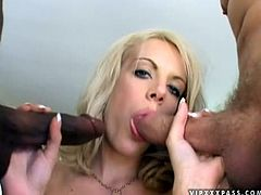 This smoking hot babe gets naked with two men. One has a huge white tool in pants and the other one whoops out his huge black monster cock for Melanie only!