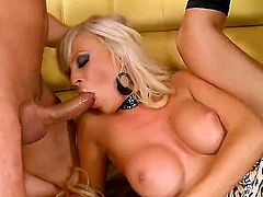 Honey Winter is put to her knees and she is gladly welcomes two dicks into her mouth. She applies additional hand stimulation before the cocks fucks her from all sides.