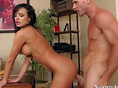 Alektra Blue is a just fired big boobed brunette that loses control. Big meloned babe strips down to her bare skin and gets her neat trimmed pussy drilled hard and deep by Johnny Sins.