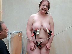 Bizarre giant serf punishment and homemade tools masochism of Overweight RosieB in