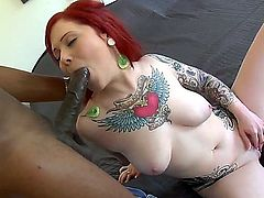 Pale-skinne Misti Dawn tasting a black rod and squirting