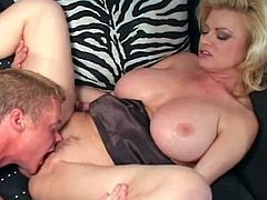 MILF with big boobs fucking younger coc