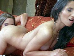 Young hot ass brunette doll Amirah Adara with natural boobs and long sexy legs has mind blowing pussy fingering session with her stunning slim long haired girlfriend filmed in close up