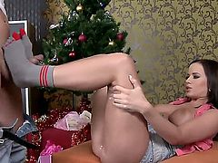 Its Christmas and Cindy Dollar got a pair of cool toe socks from her foot fetishing boyfriend Brad Russel. Cindy was really grateful and tried them on at once. They looked just perfect on her sexy feet an cute little toes. Cindy thanked Brad for the socks by sucking his stiff cock... they, of course, just ended up fucking by the Christmas tree...
