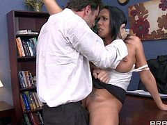 Big boobed office slut Rachel Starr gets her coochie fucked