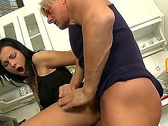 Brunette Abbie Cat was called by her adult neighbor to help him to cook dinner while his wife is in the business trip. Abbie starts to cock with hot orgasmic adventure with this man.