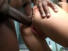 Watch this hardcore video where the slutty Lindsey Olsen ends up with her mouth filled by a black cock's cum after he tight asshole's fucked by it.