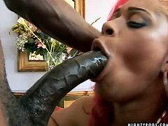 Hot ebony girl shows her big ass outdoors. After that she sucks a cock and gets pounded inside the house.