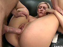 What a blonde doll, she lustfully rides her man before laying on that couch with her legs spread wide. Her thighs can make a guy think only about how to cum on them but this time the sexy blonde receives sperm somewhere else. After she got fucked she kneels and patiently awaits for jizz until it's on her face!