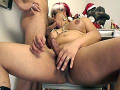 See a chunky and kinky redhead shemale giving her man a hell of a blowjob during a naughty Xmas party. Then she's ready for her hot ass to be banged balls deep into a mind-blowing anal orgasm.