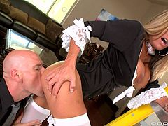 Dirty milf maid enjoys fucking her master and letting him fill her with jizz