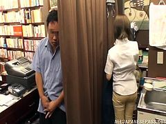 Gorgeous Japanese girl loves to read but she likes sex much more. So, she has wild sex with a seller in the bookstore. She gets fucked rough and get her pussy filled with cum.