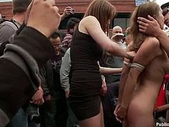 Amazing girls pose naked and suck dicks in public in the street in public. After that they get fucked in an apartment.