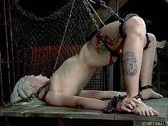 Sarah Jane Ceylon is a sexy blonde milf who is in a lot of pain. She's tied up in the dungeon with rope and has her pussy prodded. Her vagina lips are spread apart with clamps so her master can get a good look inside and her fucks her with a dildo. she screams is pain from the torture.