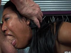 Brunette with tanned skin Lyla Lei is sucking that dick, that sloppy blowjob is so freaking hardcore!
