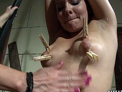 What a fetish hardcore action this is! Poor babe gets her tits clipped and she loves it. That bitch loves being the dominating one.