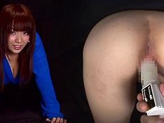 Stunning Asian ho has her booty and beaver vibrated as another hottie looks on and wants it for herself.