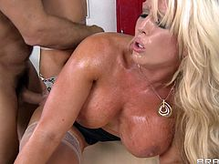 Busty blonde milf likes fucking young hunk and feeling him splashing her tight ass