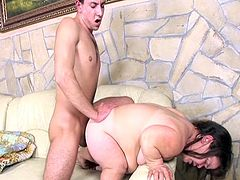 This horny dude just brought home his first mature midget doll and get wait to get started fucking her fat little furry snatch in this free tube video.