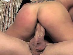 Slutty milf enjoys undulating her wet vag over large cock in nasty cock riding scene