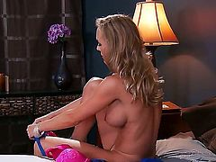 Brandi Love is one naughty and horny milf that is dressing tight now and getting ready to meet up with her boyfriend, showing her amazing boobs and they she can kiss with a lot of passion.
