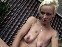 This tasty mature blonde is super skinny and super sexy. She plays with her nice flat tits and slides her hands down to her crotch. Watch as she fingers her juicy old cunt just to your eyes. She loves masturbating for you.