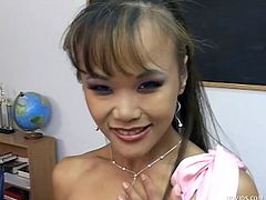 Mia Smiles has a reward for her student: a sexy handjob. Her long slender fingers will work magic on any cock. She strokes really hard and really fast until there's a big cum explosion. The classroom and her body get covered in warm, gooey cum.