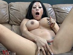 Asian cock sucker with tattoo on her body is here to satisfy her white buddy indoors