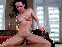 Tattooed cutie Katie St. Ives with hairy pussy is having deep genital interaction in doggy style