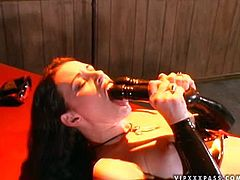 Anastasia loves sticking that double end dildo in her holes