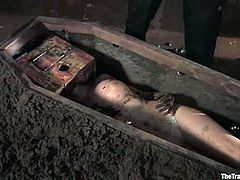 Nothing scare a shit off then the stories about coffins, graves and stuff like that. So it is well used among BDSM lovers and this petite sirens is being buried alive.