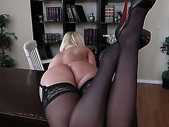 When delicious professor Mellanie Monroe is wearing black sexy stockings, that means one thing, she is more than ready to take his stiff boner deep up her snatch!
