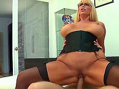 Big tit MILF Karen Fisher loves to take care of hard dicks and she is doing a perfect job in this video. Her melons are bouncing like the stock exchange all the time.