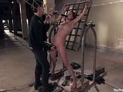 Naughty girl gets tied up and toyed with a fucking machine. Later she also gets whipped painfully and toyed with a vibrator.
